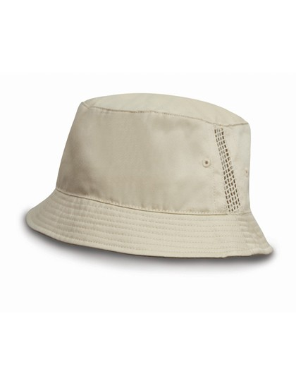 Deluxe Washed Cotton Bucket Hat with Side Mesh Pan